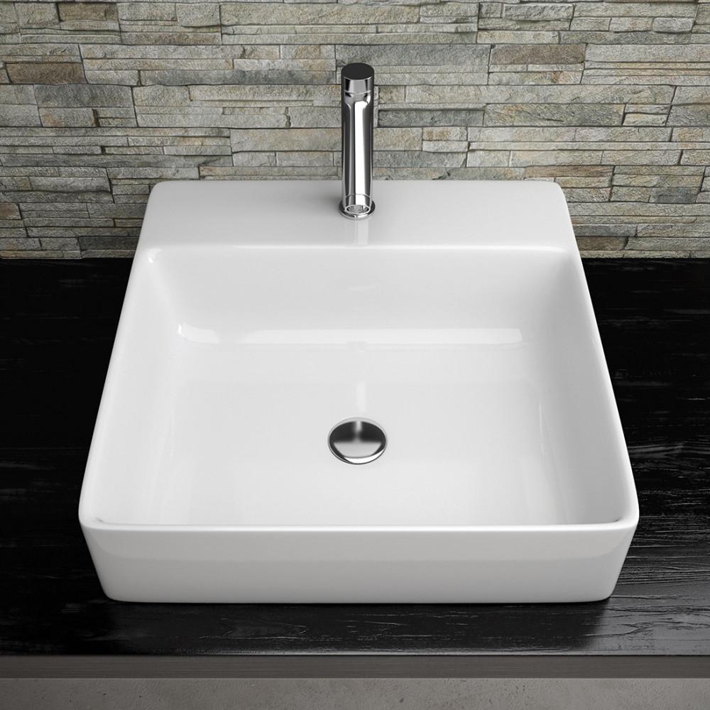 Vasque à poser carré en céramique Olympia