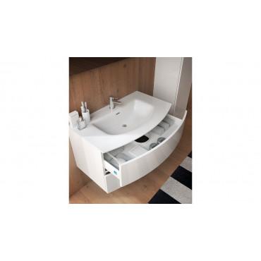 Meuble de salle de bain courbe moderne blanc BMT Moon