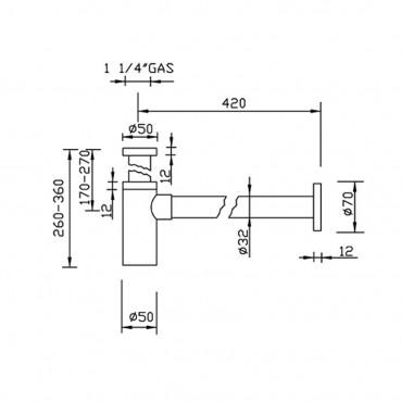 Siphon de lavabo minimal 550M