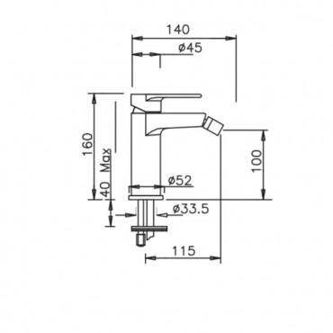 robinet de bidet design Kyro 3706 Gaboli Flli Rubinetteria