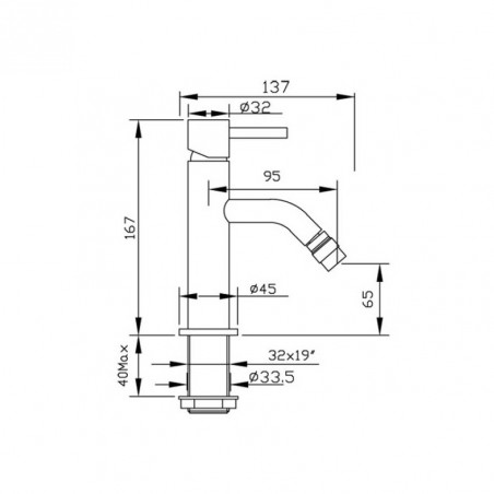 robinet de bidet design prix abordable Heos 3056 Gaboli Fratelli Rubinetteria