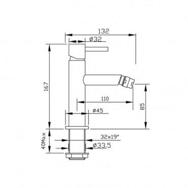 bidet mixer technical sheet Heos 3006 Gaboli Fratelli Rubinetteria