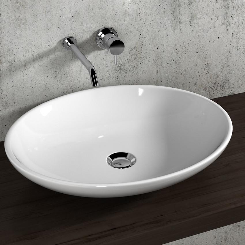 Lavabo bagno da appoggio ciotola ovale 59 Olympia