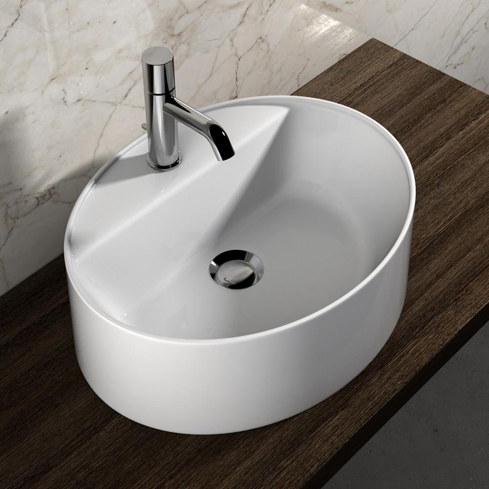 Vasque à poser ovale en céramique Olympia