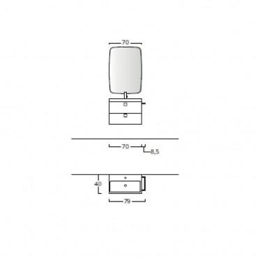 Meuble de salle de bain suspendu 70 cm pour petites salles de bain BMT Jupiter 08