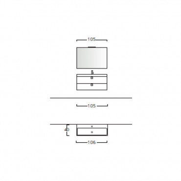 Mobilier de salle de bain suspendu moderne 70 90105 BMT Jupiter 04