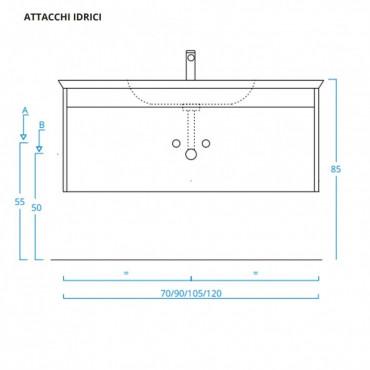 Meuble de salle de bain suspendu moderne en bois blanc 70 cm BMT Mars 02