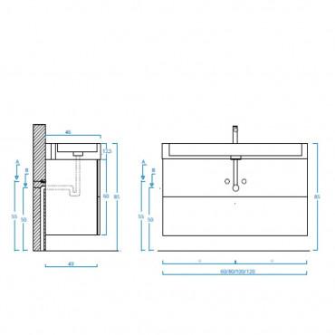 Meuble de salle de bain moderne suspendu 60 cm 80 cm 100 cm BMT Mercury 07