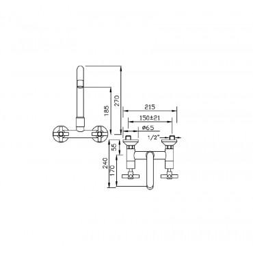 Robinets de cuisine muraux au design moderne 939 Gaboli Flli