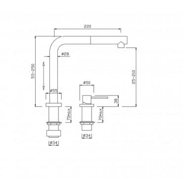 Rubinetto cucina sottofinestra con doccetta 4118 Gaboli Flli