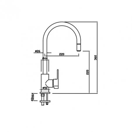 miscelatore cucina con doccetta Gaboli Flli rubinetteria