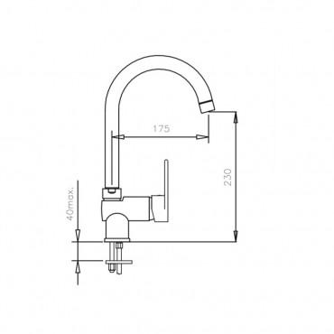 Rubinetteria lavabo cucina con bocca a cigno 4111 Gaboli Flli