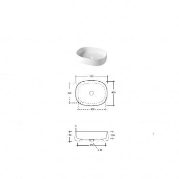 Lavandino d'appoggio colorato ovale 50 cm Paddle Olympia