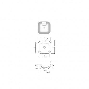 Vasque à poser carré monotrou 42 Trend Olympia
