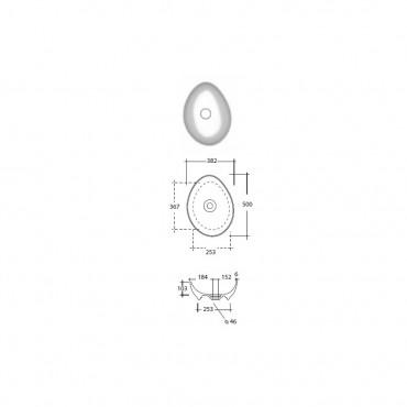Lavabo da appoggio design moderno 50 cm Trend Olympia