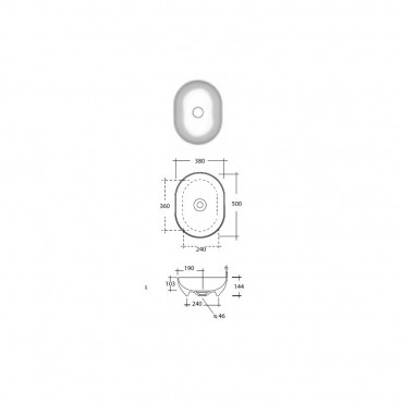 Lavabo bagno da appoggio ovale Trend 50 cm Olympia
