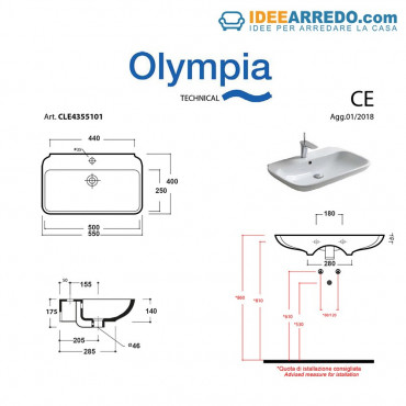 taille du lavabo Clear 55 Olympia Ceramica