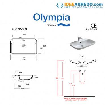 Misure Lavandino Bagno Standard.Lavandino Sospeso O Appoggio Piccole Dimensioni Clear 45 Olympia