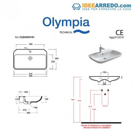 lavabo bagno piccolo misure Clear 45 Olympia Ceramica