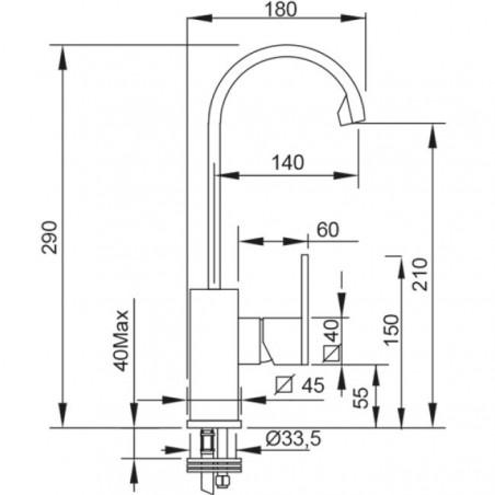 rubinetto alto lavabo bagno Gaboli Flli rubinetteria Klip 2851