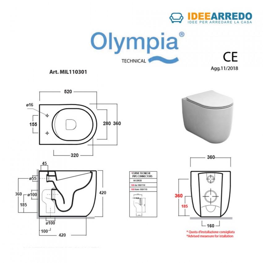 dimensioni wc a terra rimless Milady Olympia ceramica