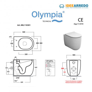 dimensioni vaso rimless a terra Milady Olympia ceramica