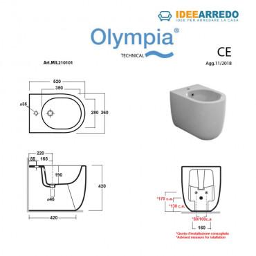 misure bidet a terra Milady Olympia Ceramica