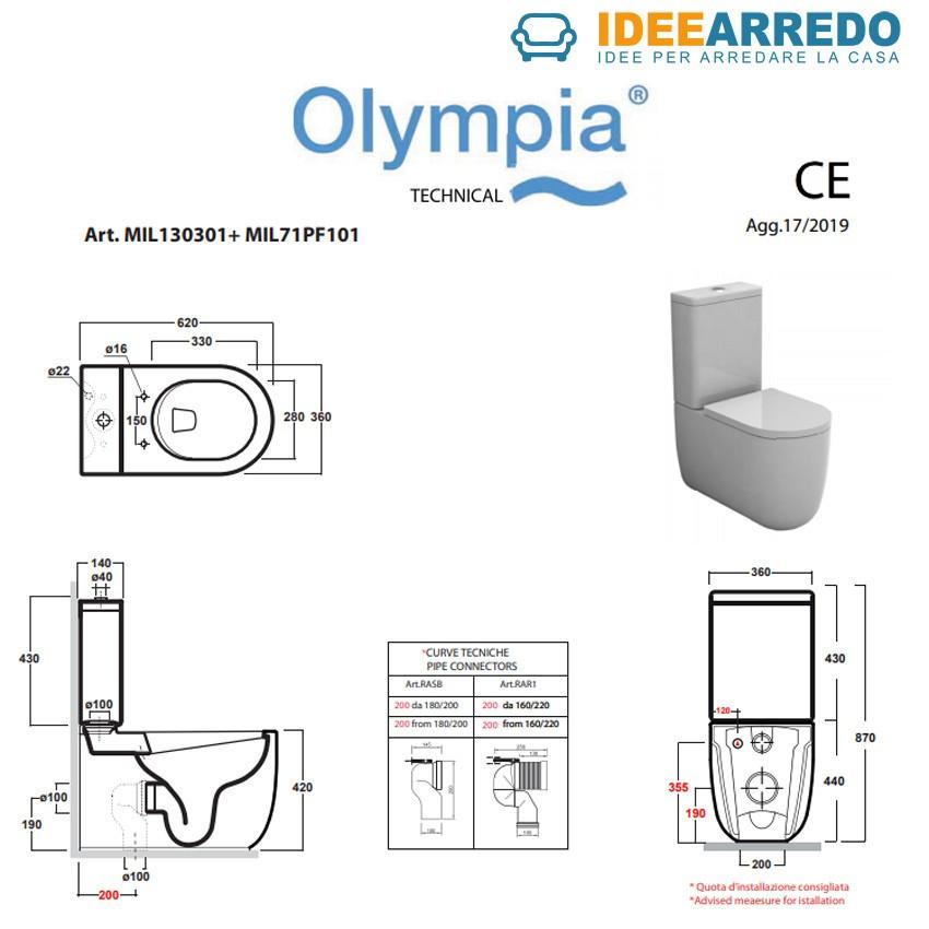 misure wc monoblocco Milady Olympia Ceramica