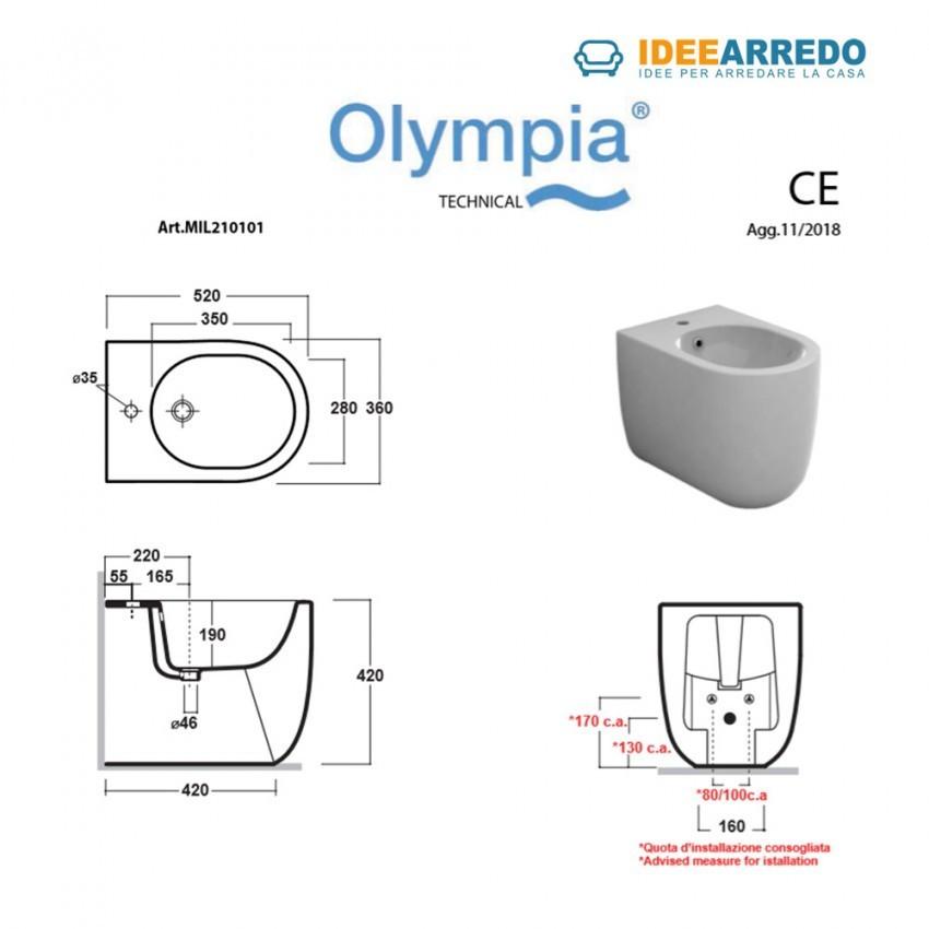 dimensioni bidet a terra Milady Olympia Ceramica