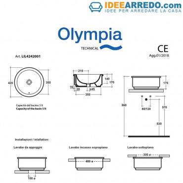 lavandino incasso bagno Olympia ceramica