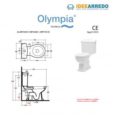 Toilette monobloc vintage avec bouton haut Olympia Empire