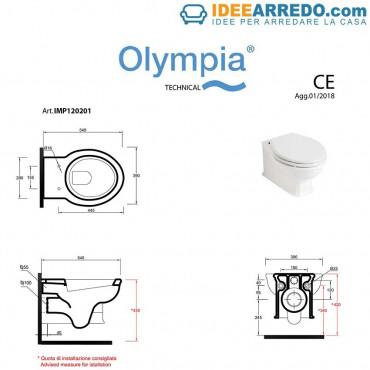 Dimensions sanitaires suspendus Impero Olympia Ceramica