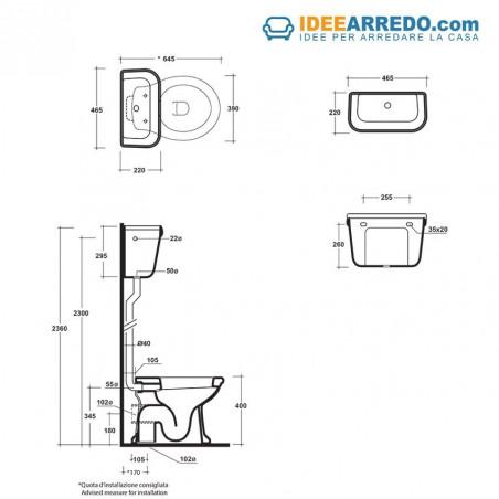 WC taille réservoir extérieur haut Empire