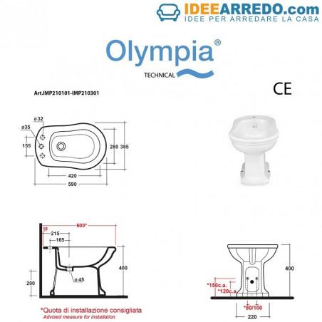 mesures de toilette et bidet Impero Olympia Ceramica