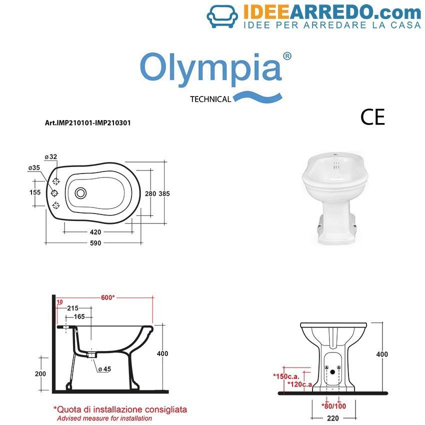 bidet scarico a terra o a parete Impero Olympia Ceramica