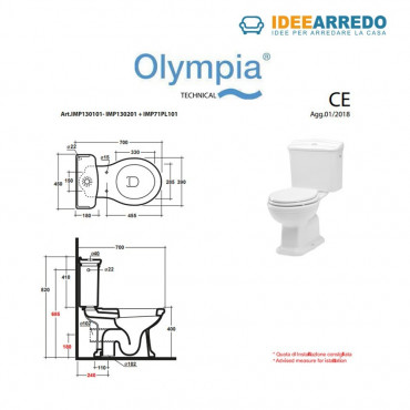 WC monobloc dimensions avec réservoir et levier avant Empire