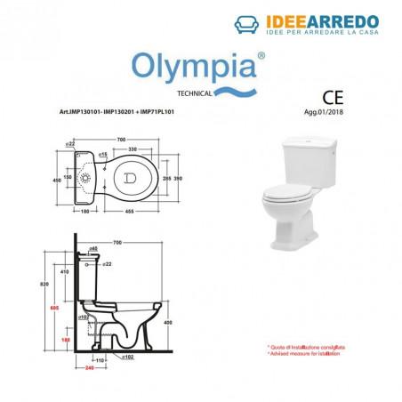 dimensioni vaso monoblocco Impero Olympia Ceramica