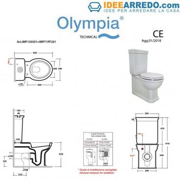 mesures de toilette avec réservoir encastré Empire