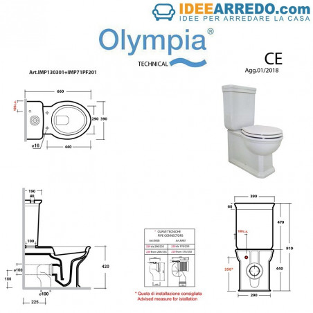 scheda tecnica wc filo muro Impero  Olympia Ceramica