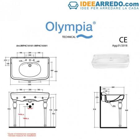lavabo consolle con piedi dimensioni Impero 100 Olympia Ceramica