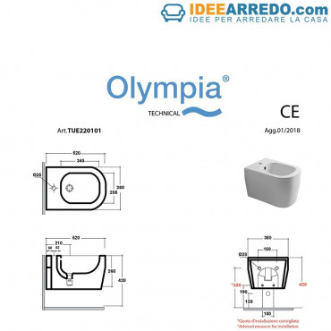 bidet suspendu Tutto Evo dimensions Olympia Ceramica