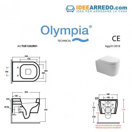 toilettes toilettes sans bride - mesures de toilettes sans bride Tutto Evo Olympia Ceramica