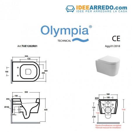 dimensions de WC suspendus sans rebord Tutto Evo