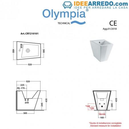 retour au mur fiche technique sanitaire Crystal Olympia ceramica