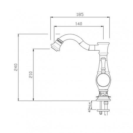rubinetto nero per bidet Gaboli Flli Rubinetteria
