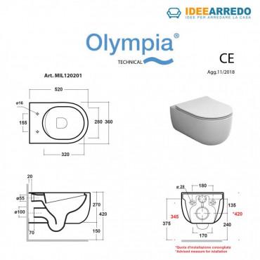 mesures vase wc salle de bain couleur gris tourterelle Milady Olympia Ceramica