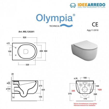 misure vaso wc bagno colore tortora Milady Olympia Ceramica