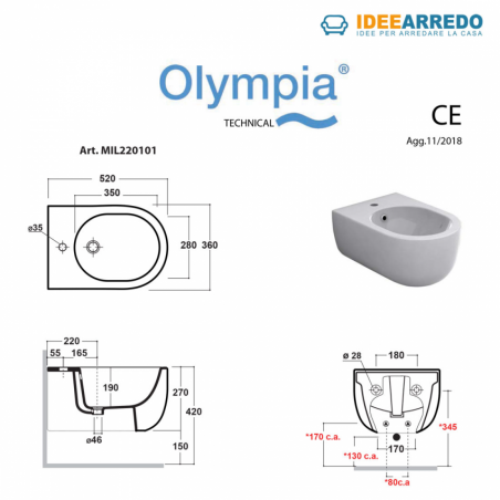 bidet sanitaire de salle de bain marron mesure Milady Olympia Ceramica