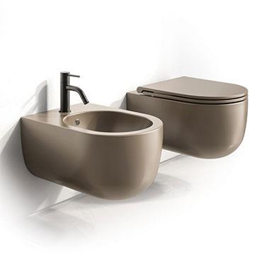 toilettes au champagne et bidet Milady suspendus