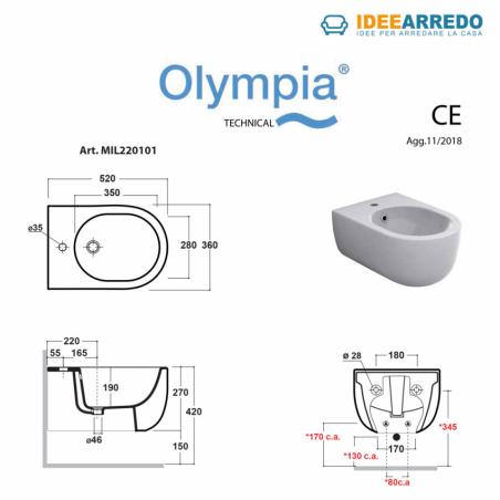 misure sanitari bagno sospesi neri bidet Milady Olympia